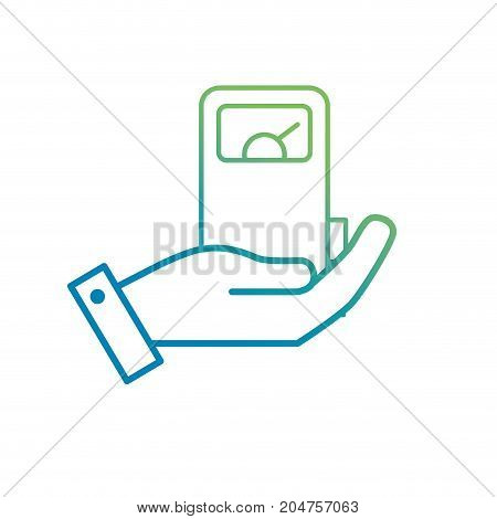 line hand with gas machine to environment care vector illustration