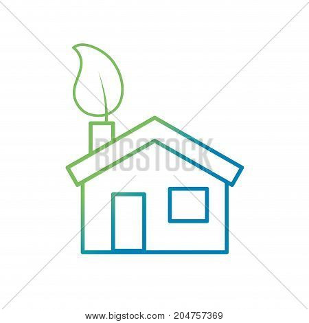 line house with ecological leaf to environment care vector illustration