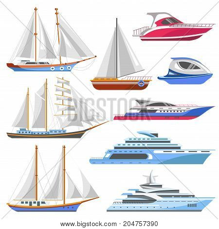 Yacht sailboat or sailing ship and sea marine cruise boat with sails. Vector ocean travel vessel or seafarer frigate liner yacht and sea speedboat transport flat icons set