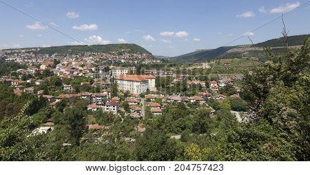 VELIKO TARNOVO, BULGARIA - AUGUST 10, 2017:Panoramic view of Veliko Tarnovo in Bulgaria.