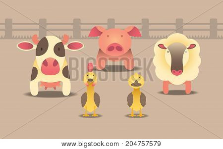 vector of character design of animal farm