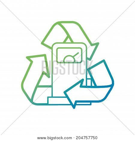line gas machine with recycle symbol around vector illustration