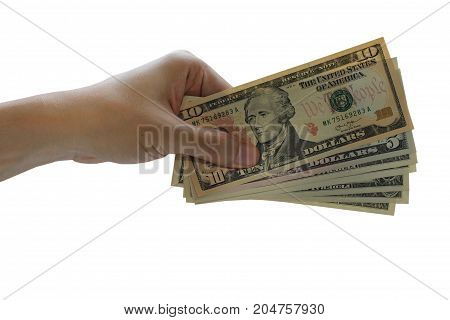 Pay the US dollar Hand use dollar money on the white background.