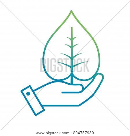 line hand with natural and tropical leaf vector illustration design
