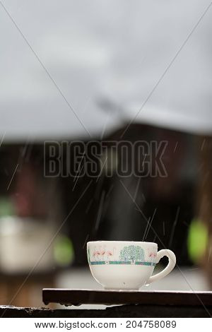 White cup in rainy day - stock image