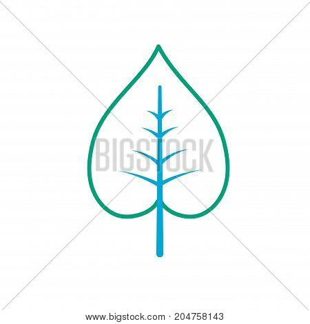 line natural and tropical leaf vector illustration design