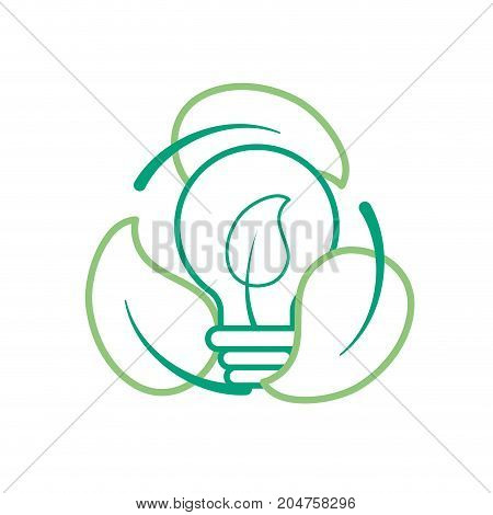 line nice bulb with leaf inside and leaves around vector illustration