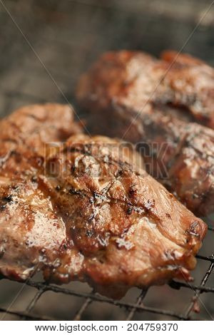 Roasted pork on the barbecue - stock image