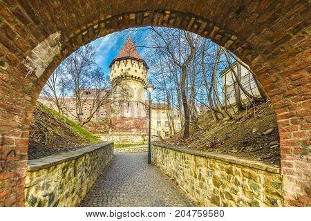 Medieval defense wall and The Carpenters' Tower in Sibiu city Transylvania region Romania.