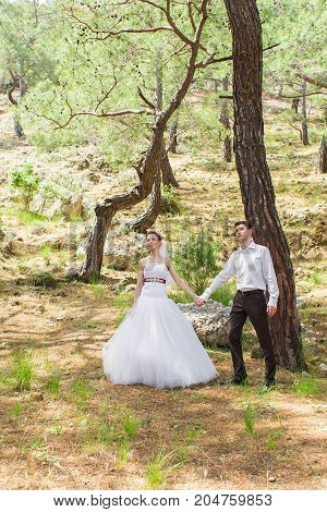 Portrait of happy bride and groom outdoor in nature location. Summer or autumn season.
