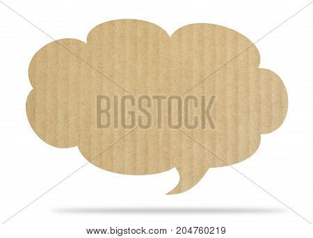 Speech Bubble Papar Cardboard isolated on white background
