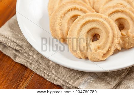 Round shaped cookie on table - Stock Image
