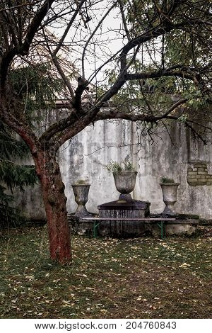 An altar by a tree at the Patarei prison in Tallinn Estonia. This old fortress was transformed into a prison where the enemies of the society were kept in the Soviet era.