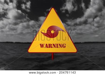 Hurricane Danger Sign And Storm In The Background 3D Rendering