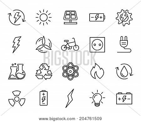Premium set of energy line icons. Simple pictograms pack. Stroke vector illustration on a white background. Modern outline style icons collection.