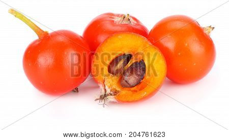 Red Rowan With Slice Isolated On White Background. Macro