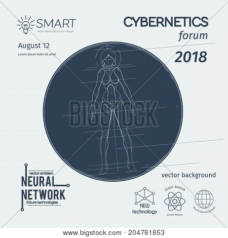 Cybernetics forum banner. Female robot scheme with symbols and circle. Vector background for robotics events