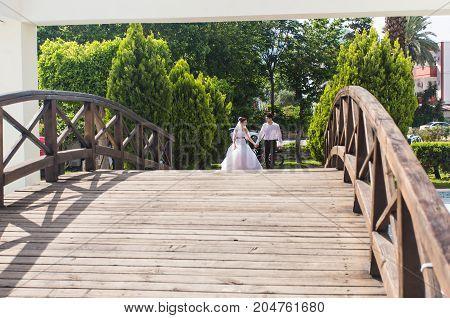 loving wedding couple walks, bride and groom.
