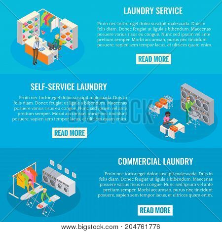 Vector set of laundry horizontal banners. Laundry service, Self-service and commercial laundry isometric templates for laundry business advertising.