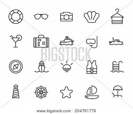 Premium set of cruise line icons. Simple pictograms pack. Stroke vector illustration on a white background. Modern outline style icons collection.