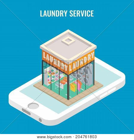 Online laundry services concept vector illustration. Laundry mobile 3d flat isometric icon.