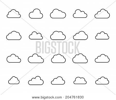 Premium set of cloud line icons. Simple pictograms pack. Stroke vector illustration on a white background. Modern outline style icons collection.