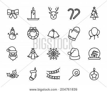 Premium set of christmas line icons. Simple pictograms pack. Stroke vector illustration on a white background. Modern outline style icons collection.