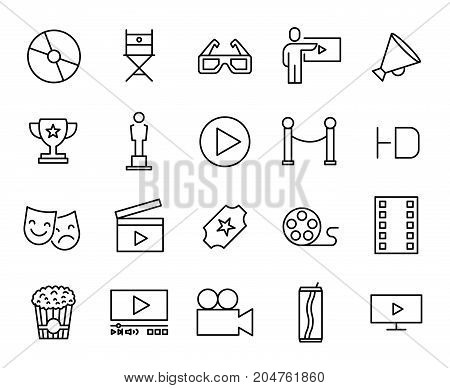 Premium set of cinema line icons. Simple pictograms pack. Stroke vector illustration on a white background. Modern outline style icons collection.