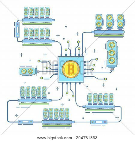 Bitcoin farm concept vector illustration. Digital currency or cryptocurrency mining farm. Bitcoin and blockchain technology flat style thin line icon.