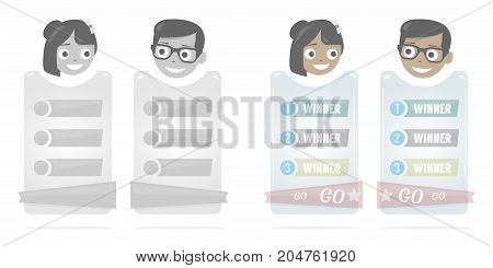 Cartoon boy and girl vector illustration for web site. Banner for a website or booklet. Modern web elements. Business startup banner concept, flat style. Cool on a numbered list.