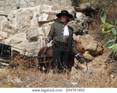 Man In Traditional Outfit In Andalusian Countryside