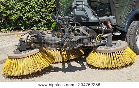 Sweeper of the cleaning vehicle closeup outdoor