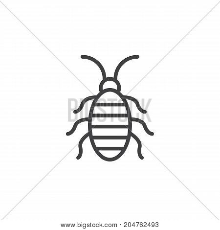 Cockroach line icon, outline vector sign, linear style pictogram isolated on white. Halloween holiday Symbol, logo illustration. Editable stroke
