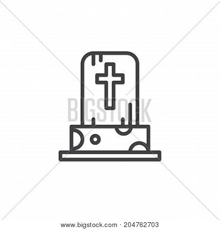 Tombstone line icon, outline vector sign, linear style pictogram isolated on white. Halloween holiday Symbol, logo illustration. Editable stroke