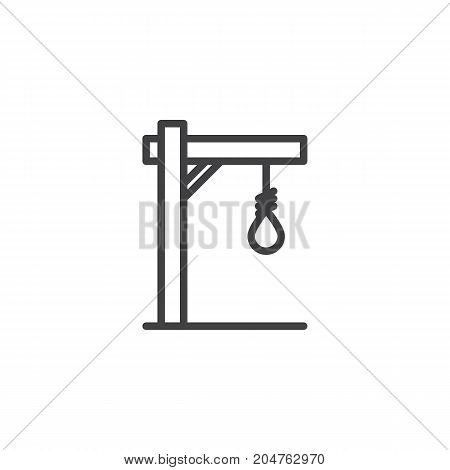 Gallows line icon, outline vector sign, linear style pictogram isolated on white. Halloween holiday Symbol, logo illustration. Editable stroke