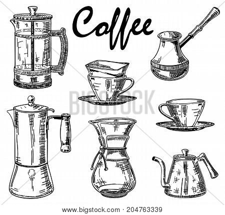 Vector hand drawn illustration of coffee mugs, coffee pots and coffee makers. Coffee vintage design elements for restaurant or cafe menu, poster, banner.
