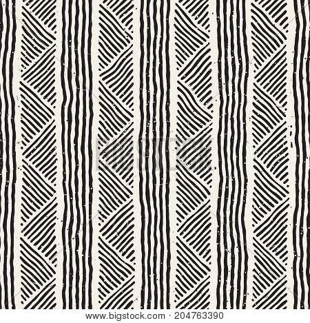 Hand drawn style ethnic seamless pattern. Abstract geometric lines tiling background in black and white.
