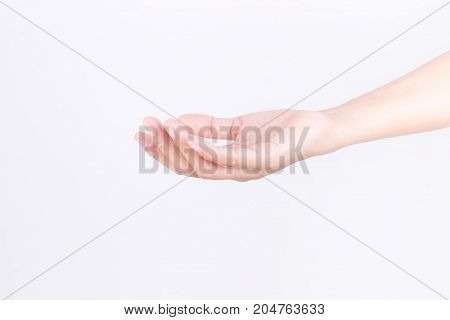 Empty woman hand holding on white background