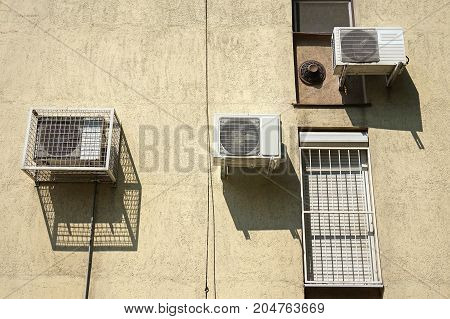 Air conditoners on the wall of a building