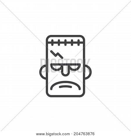 Frankenstein mask line icon, outline vector sign, linear style pictogram isolated on white. Halloween holiday Symbol, logo illustration. Editable stroke
