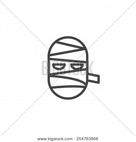 Mummy mask line icon, outline vector sign, linear style pictogram isolated on white. Halloween holiday Symbol, logo illustration. Editable stroke