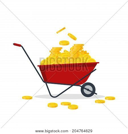 Red wheelbarrow full of golden coins. Gold money flat style- vector illustration. Bank finance concept. Pushcart with treasure.