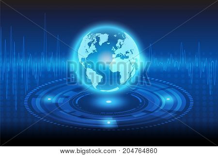 globalization technology and Mechanical abstract background.illustration design.