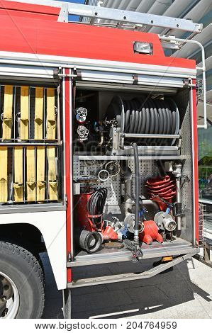 Equipments of the fire engine truck outdoor