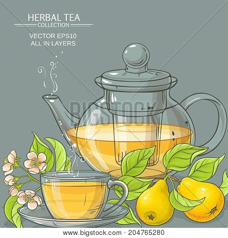 cup of pear tea and teapot on color background