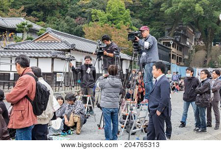 Lot Of Video Camera Operators And Reporters At Yabusame Festival - A Type Of Mounted Or Horseback Ar