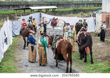 Participants Of Festival Yabusame - A Type Of Mounted Or Horseback Archery In Traditional Japanese S