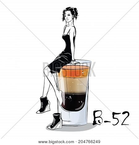 Hand drawn illustration of cocktail with girl. B 52. Vector illustration