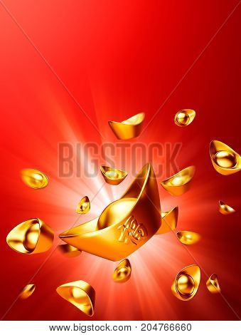 Chinese gold sycee ( yuanbao ) on red background Chinese calligraphy