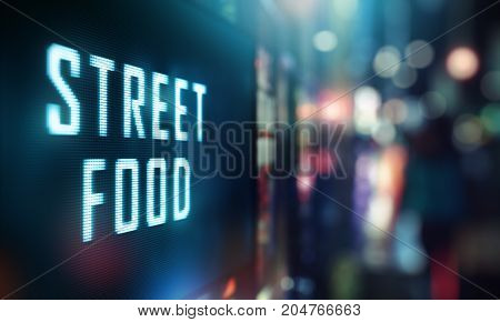 LED Display - Street Food signage (Photo and 3D Rendering)